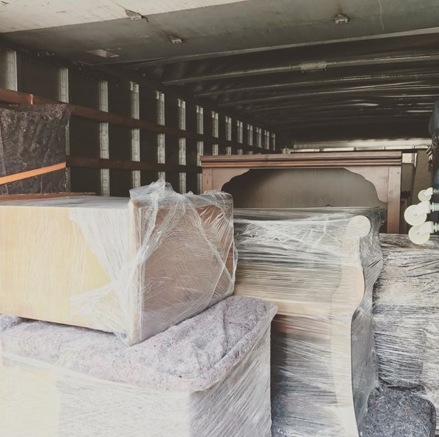 Customer's furniture secured for move